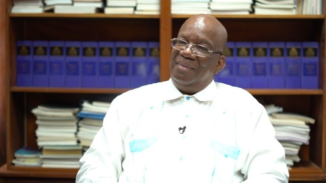 Minister of Finance, Winston Jordan, during his interview with the Department of Public Information (DPI).