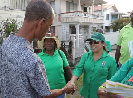 Minister of State, Dawn Hastings-Williams interacting with citizens at recent government outreach.