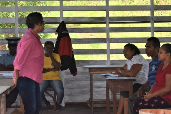 Minister within the Ministry of Indigenous Peoples' Affairs Valerie Garrido-Lowe speaking to residents and farmers of Santa Cuz, Moruca in Region 1.