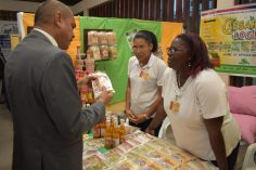 Minister of Business, Hon. Haimraj Rajkumar interacts with local business owners during the Linden Exhibition and Trade Fair