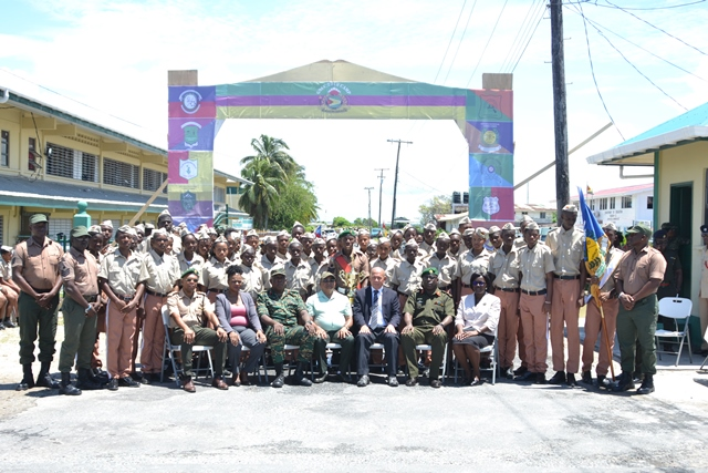 [In the photo, seated third from right] Minister of Social Cohesion the Hon. Dr. George Norton, Chief of Staff Brigadier Patrick West [second from right] and Regional Executive Officer (REC), Denis Jaikaran along with other official and some of the GNCC cadets.