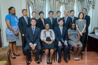 Minister of Public Health, Hon. Volda Lawrence along with staff off the Ministry of Public Health and members of the Chinese delegation from Jiangsu Province