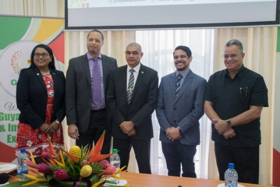 Members of head table at the launch of GUYTIE 2020. (From left) Coordinator, Tameca Sukhdeo-Singh, CEO Go-Invest, Owen Verwey, Minister of Business Haimraj Rajkumar, Manager Competitiveness and Export Promotion (Caribbean Export) Damie Sinanan and Chairman, Private Sector Commission, Captain Gerry Gouveia.