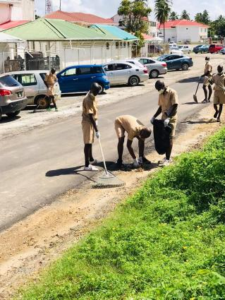 Police recruits cleaning up the Suddie area
