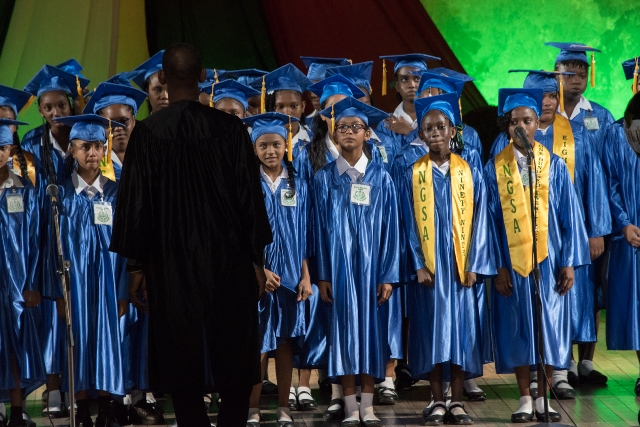 Part of the 2019 graduating class performing the Negro Spiritual 'Wade in the water'.