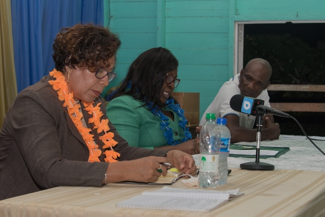 Minister within the Ministry of Indigenous Peoples' Affairs, Hon. Valerie Garrido-Lowe and Minister of Foreign Affairs, Hon. Dr. Karen Cummings, during their meeting with Supply residents on Thursday.