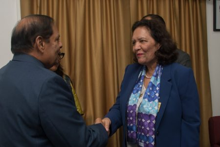 Tahseen Sayed, Director for the Caribbean and Latin American Region greets Prime Minister of Guyana Hon. Moses Nagamootoo