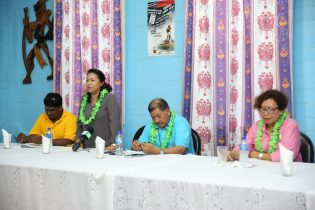 Minister of State, Dawn Hastings- Williams addressing the residents.