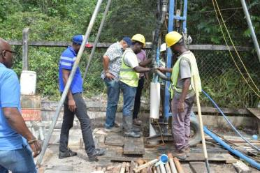GWI officials inspect works at the Ituni well site
