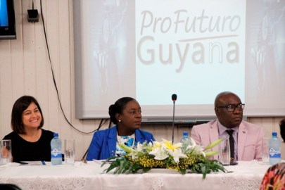 (from left) Profutoro Representative, Ms. Maria Lobo, Minister of Education, Dr. the Hon. Nicolette Henry and Chief Education Officer, Dr. Marcel Hutson at today's launch
