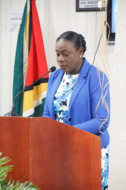 Minister of Education, Dr. the Hon. Nicolette Henry delivering remarks at today's launch