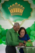 His Excellency, President David Granger and First Lady, Her Excellency, Sandra Granger as they cut the birthday cake