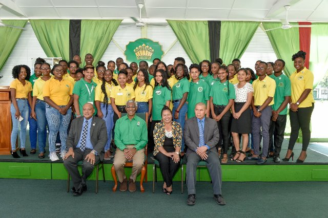 President David Granger (seated second left), Ministers of Natural Resources, State and Social Cohesion, Mr. Raphael Trotman (left), Mrs. Dawn Hastings-Williams (second right) and Dr. George Norton (right) with participants at the closing ceremony of Youth in Natural Resources