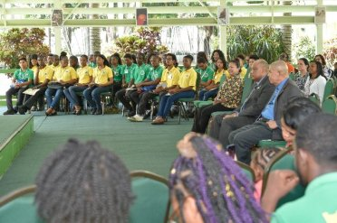 Participants of the Ministry of Natural Resources Youth in Natural Resources programme. Also photographed are Ministers of State, Natural Resources and Social Cohesion, Mrs. Dawn Hastings-Williams (front left), Mr. Raphael Trotman (second right) and Dr. George Norton (right) respectively.