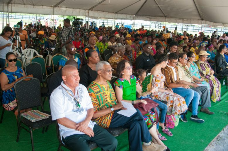 His Excellency, President David Granger, his wife Her Excellency, Sandra Granger along with his daughter and grandchildren enjoy the cultural presentation at the event today