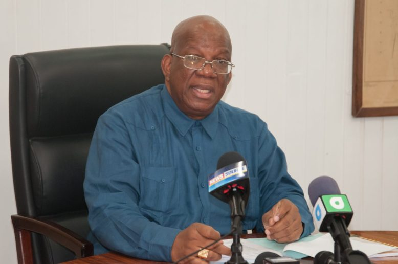Minister of Finance, Hon. Winston Jordan briefing the media about the Half Year Economic Report