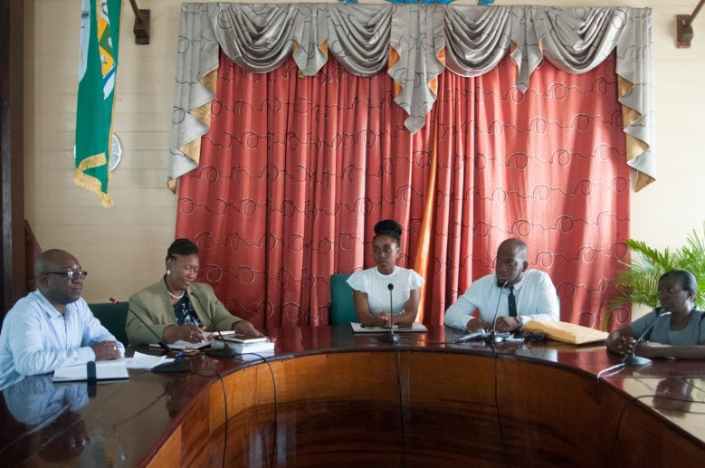 Panel during a briefing at the Mayor & City Council (M&CC). [In the photo, from left] City Engineer (ag), Kenson Boston, Acting Town Clerk, Sherry Gerrick, Councillor Eketa Edwars, Councillor Denroy Tudor and member of staff attached to the M&CC