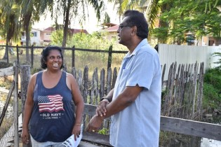 Minister of Public Security, Hon. Khemraj Ramjattan interacting with residents of Woodley Park.