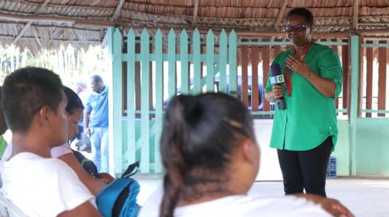 Public Health Minister, Hon. Volda Lawrence addressing residents at a community meeting in Princeville in Region 8