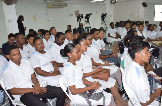 Some of the 36 young men and women at the orientation of the 4-year 'Medex' training programme. In 2022, they will graduate with an Associates of Sciences Degree that allows them to provide mid-level health care