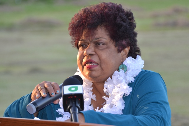 Minister of Social Protection, Hon. Amna Ally addressing an interactive community meeting attended by around 200 residents of Meten-Meer-Zorg, West Coast of Demerara.