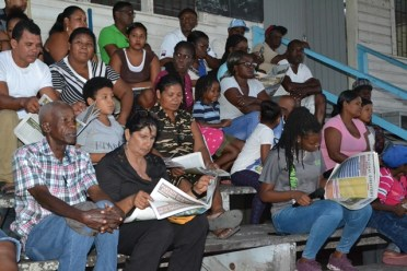 A section of residents at an interactive community meeting at Meten-Meer-Zorg, West Coast of Demerara.
