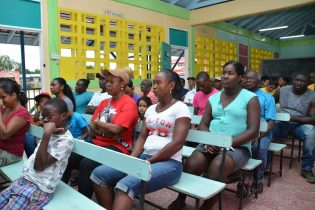 A section of the audience gathered at Yarrowkabra Primary School for the meeting