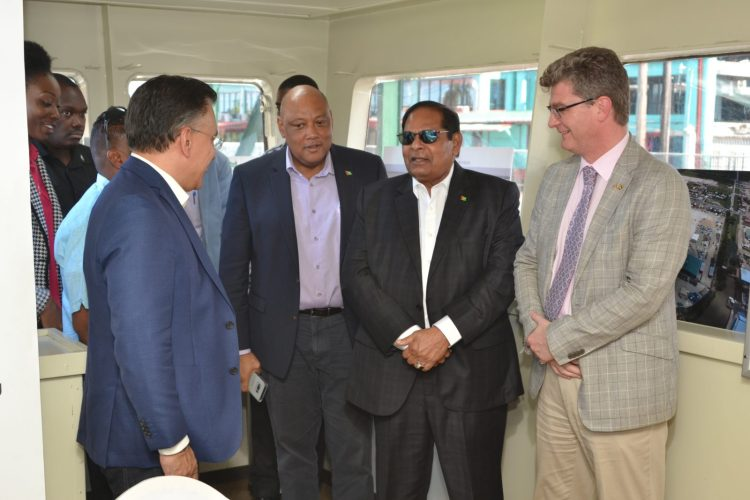 CEO of TOTALTEC Oilfield Services, Lars Mangal, Minister of Natural Resources, Hon Raphael Trotman, Prime Minister, Hon. Moses Nagamootoo and British High Commissioner to Guyana, Greg Quinn