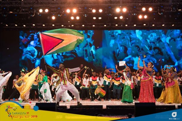 The Guyana delegation performing at the Opening Ceremony at CARIFESTA XIV in Trinidad and Togabo.
