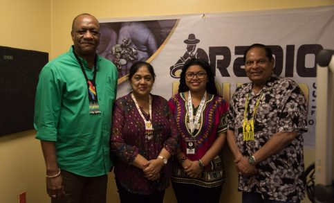 [In the photo, from left] Director-General of the Ministry of the Presidency, Joseph Harmon, the Prime Minister's wife, Sita Nagamootoo, Radio Broadcaster, Lisa Lee, Prime Minister, Hon. Moses Nagamootoo