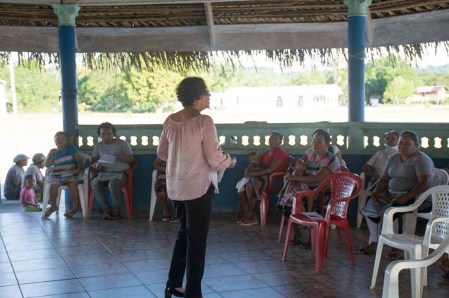 Minister within the Ministry of Indigenous Peoples' Affairs, Hon. Valerie Garrido-Lowe addresses the villagers of Micobie
