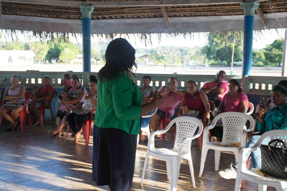 Minister of Foreign Affairs, Hon. Dr. Karen Cummings addresses the villagers of Micobie