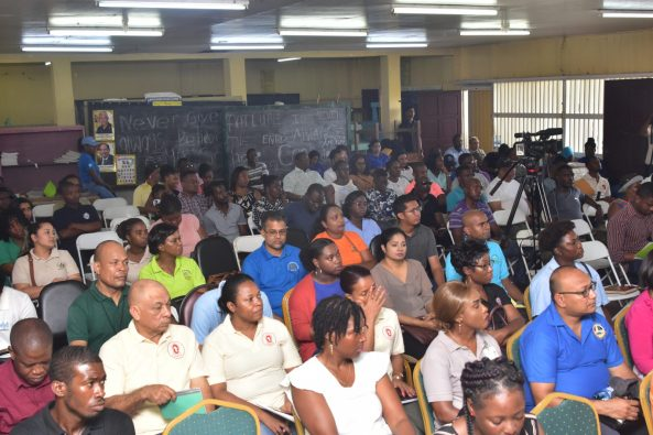 A section of the audience at the government engagement in La Parfaite Harmonie.