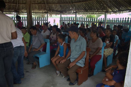 The villagers gathered at the meeting with Minister within the Ministry of Agriculture, with responsibility for Rural Affairs, Hon. Valerie Adams-Yearwood