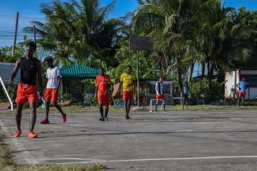 Rasville youngsters during a heated game of football on Sunday afternoon