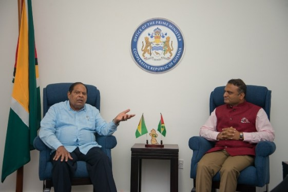 Prime Minister, Hon. Moses Nagamootoo and His Excellency, Dr. K. J. Srinivasa, newly-accredited High Commissioner of India to Guyana.