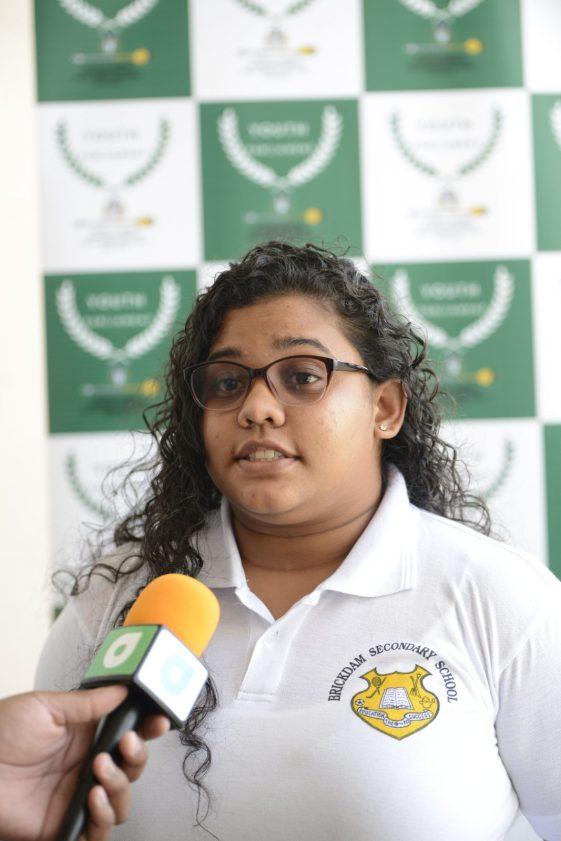 Youth Parliamentarian and student of Brickdam Secondary School, Brittany Valdaris.