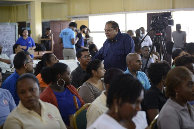 Prime Minister Hon Moses Nagamootoo engaging residents of La Parfaite Harmonie.