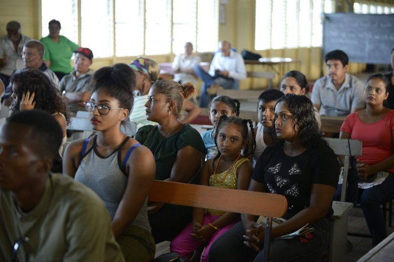 A scene from the community meeting in Mon Repos, East Coast of Demerara.