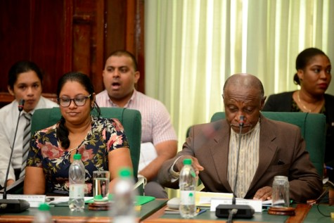 Two of the three judges Foreign Secretary of the Ministry of Foreign Affairs, Carl Greenidge, Representative from the Centre for Communication Studies, University of Guyana, Nelsonia Persaud- Budhram.