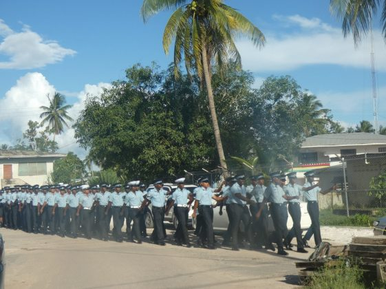 'E' Division ranks marching crisply