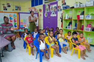 Some of the little ones at the Lenora Early Childhood Educational Centre along with their teachers.