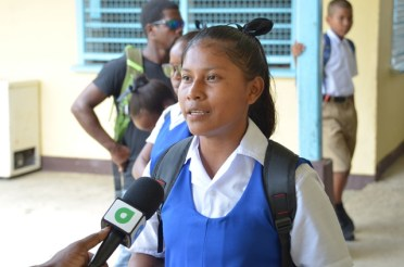 A student of Bartica Secondary School that lives in Batavia, Jeniffer Jeffrey.