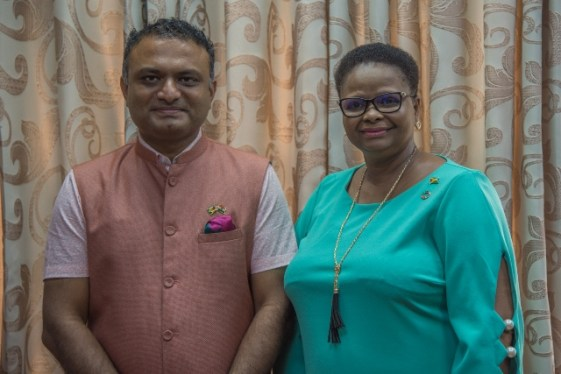 High Commissioner of India to Guyana, H.E Dr. K.J. Srinivasa and Minister of Public Health, Hon. Volda Lawrence.