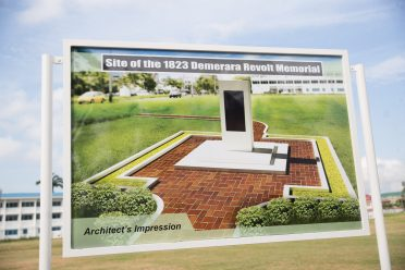 Artist's impression of the new 1823 Demerara Slave Revolt Monument at Parade Ground