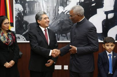 His Excellency, President David Granger being greeted by the Mexican Ambassador to Guyana, H.E José Contreras