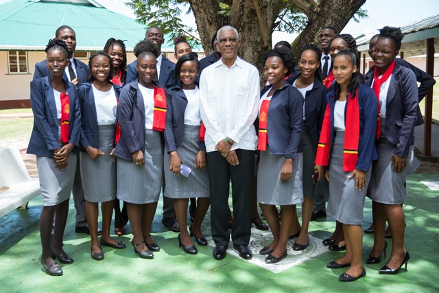 His Excellency, President David Granger with CPCE trainee teachers.