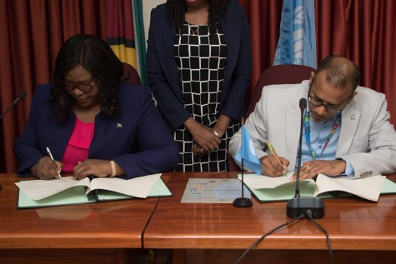 Guyana's Minister of Foreign Affairs, Hon, Dr. Karen Cummings, signs MOA for continued strengthening of partnership between Guyana and UN agencies.