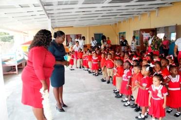 Pupils of Savannah Park Nursery School meeting the Minister of Education