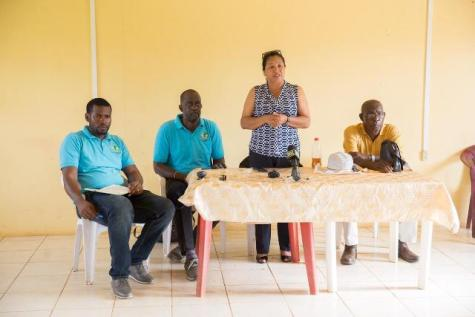 Minister of State, Hon. Dawn Hastings-Williams addressing residents of Port Kaituma.
